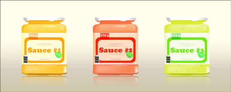 sauces: A set of three glass jars with different sauces Illustration