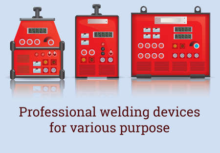 alternating current: Three professional welders for different purposes Illustration