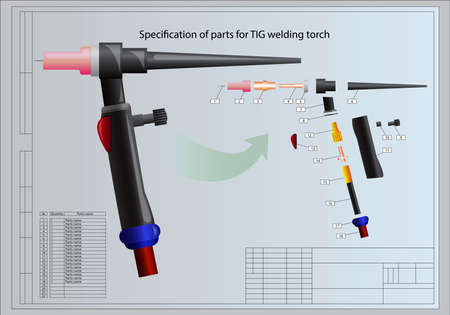 copper background: Specification of parts for TIG welding torch Illustration
