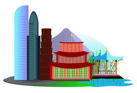 rice fields: Asian city with skyscrapers, temples and rice fields