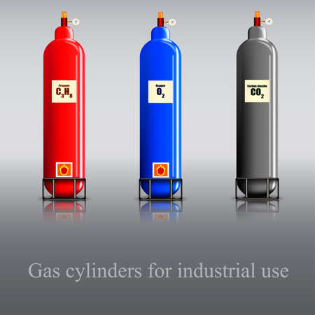 Drei Gas culinder mit Propan, Sauerstoff und Kohlendioxid, Standard-Bild - 51655805