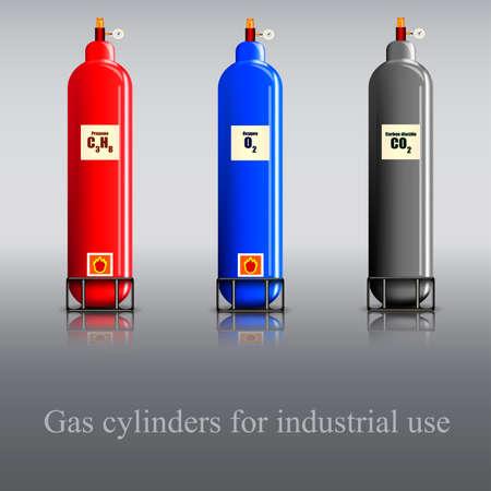 Drie gas culinder propaan, zuurstof en kooldioxide Stock Illustratie