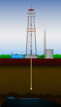 fracking: Drilling rig and oil and gas field Illustration