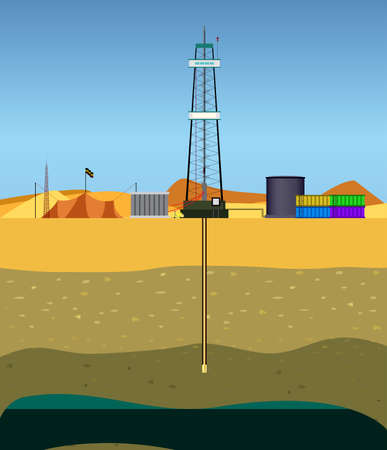 oil well: Drilling  a oil well (Middle East)  Drill string in the middle of  the desert