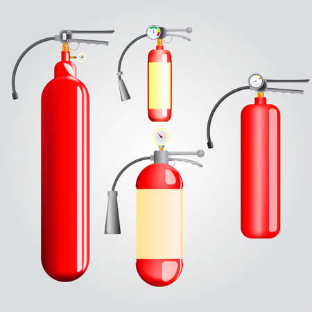 extinguishers: Set of fire extinguishers for different purposes(carbon dioxide, foam, chemical) Illustration