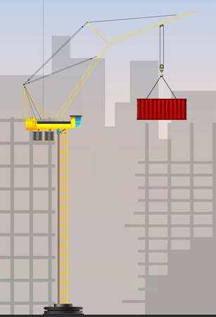 built tower: Tower cranes for industrial use  Tower crane building a high-rise buildings