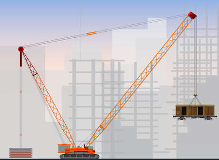 steel construction: Big cranes for industrial use  Big crane building a high-rise buildings