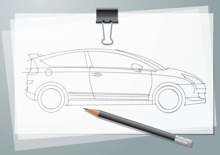 Car Sketch project. Pencil drawing on a calc with paper clip and pancil Stock Photo - 7649457