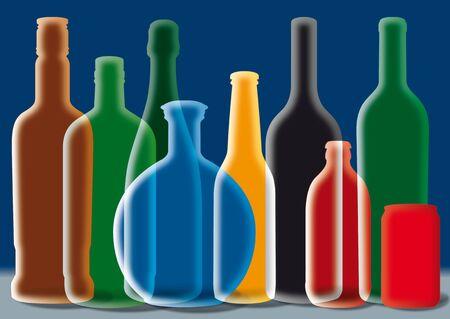 Group of Alcohol Bottles Illustration. (Color silhouette) Stock Illustration - 7649456