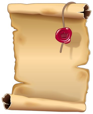rown: Ancient parchment scroll with a king seal Stock Photo