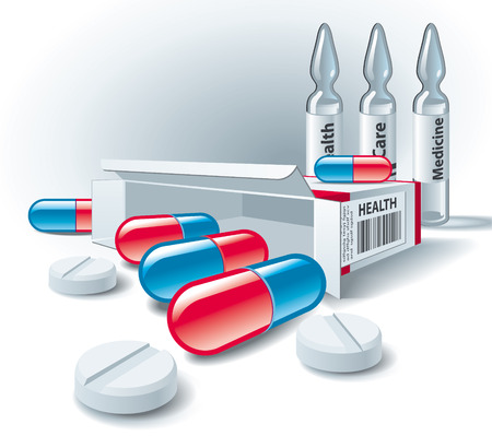 med: Pills, tablets, box and ampoules on white background. Illustration