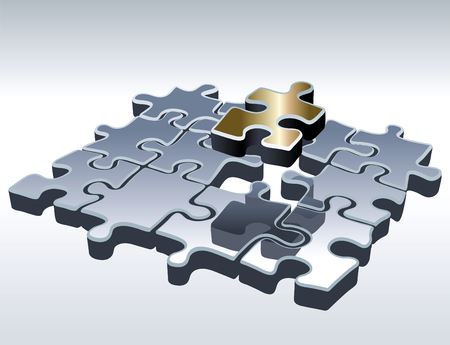 merger: Jigsaw puzzle set. One outstanding part.  Illustration