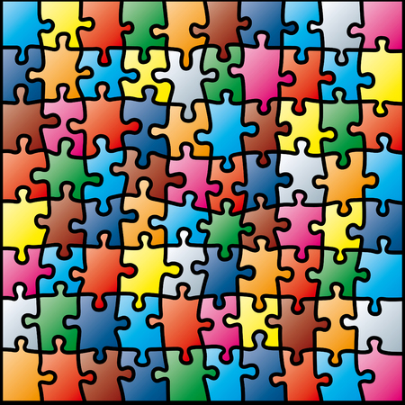 merger: Jigsaw puzzle colorful pattern Illustration