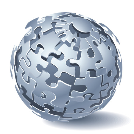 Jigsaw puzzle sphere. Dynamic Explosion.