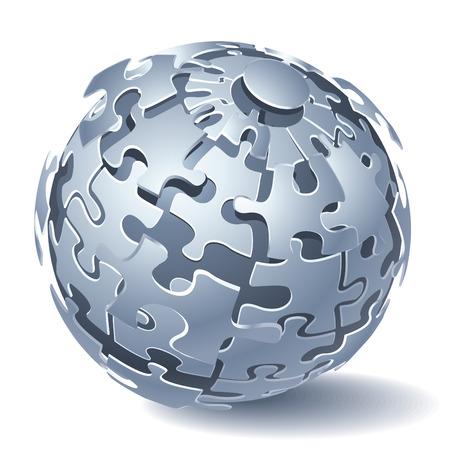 Jigsaw Puzzle Sphäre. Dynamischer Explosion.