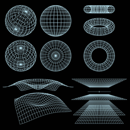 torus: Geometry, Mathematics and Perspective wire frame symbols.  illustration.