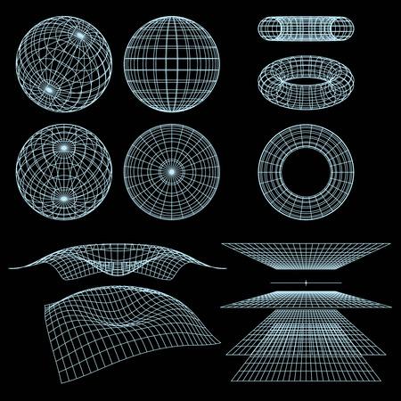 幾何学、数学、視点のワイヤー フレームのシンボル。イラスト。