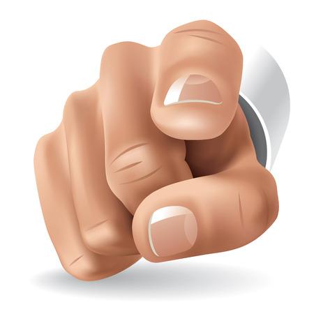 Rechter hand met de wijsvinger wijst op kijker.  illustratie