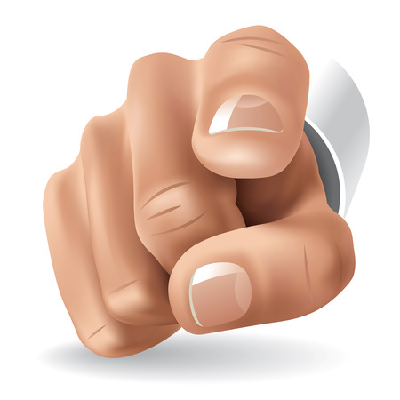 Right hand with forefinger pointing on viewer. illustration