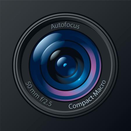 Frontal vista de la lente de la cámara de fotos. Ilustración