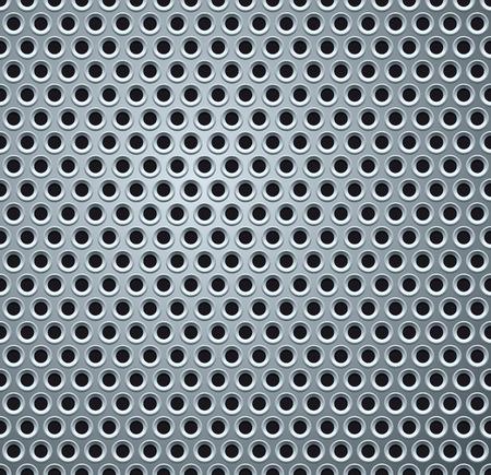 lamiera metallica: Lucido grigio chiaro perforato Metal Plate. Sfondo Vettoriali
