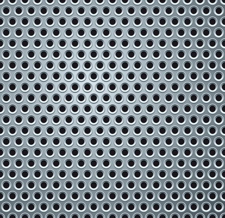 Shiny Light Gray Perforated Metal Plate. Background Vector