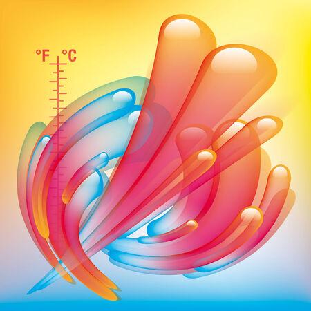 calamiteit: Hot & amp, koude kleuren temperatuur splash. Illustratie
