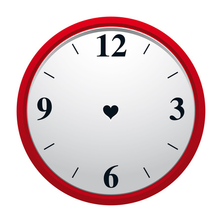 dial plate: Clock with heart shaped hole in dial plate and with no minute and hourhand. Eternity of true love symbol.  Illustration