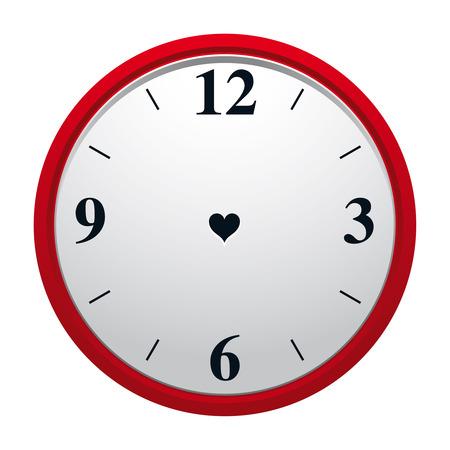 Klok met hartvormige gat in wiel plaat en geen minuut en hourhand. Eeuwigheid van ware liefde symbool.