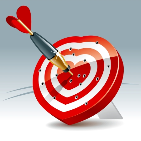 aim: Heart Shaped Darts Target with sticking Arrow. Illustration