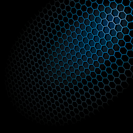 Metal Shine Hexagon Grid on Black Background. Illustration Stock Vector - 8090464