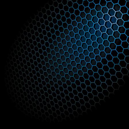Metal Shine Hexagon Grid on Black Background. Illustration Stock Vector - 8090464