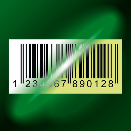 ean: Laser beam from Data Scanner pass through Barcode Label. Vector Illustration