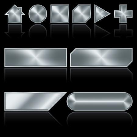 polished: Brillante luz gris pulida metal botones con reflexiones sobre fondo negro Vectores