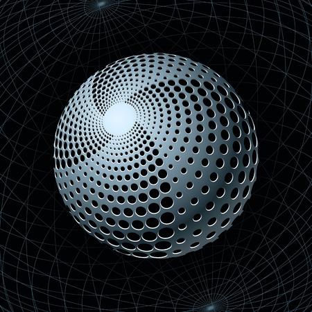 Esfera de metal de fantasía con orificios de la espiral contra cuadrículas de navegación detrás. Ilustración vectorial  Ilustración de vector