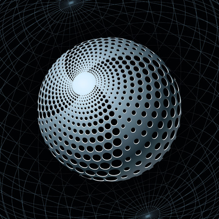 perforated: Fantasy Metal Sphere with Spiral Holes against Navigation Grids behind. Vector Illustration