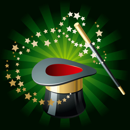 Performance magique attributs sur lumineux vert arrière-plan  Banque d'images - 8145115
