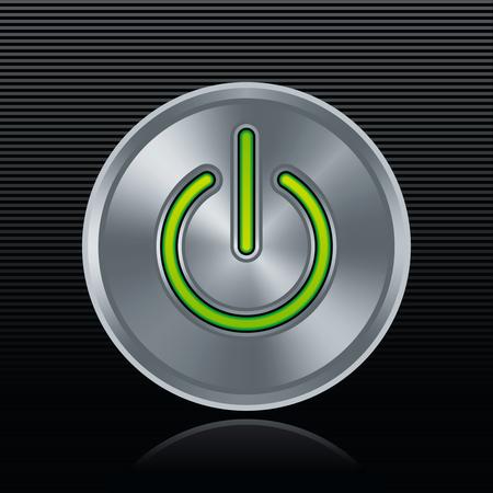 Round metal start button with green light on dark background Vector
