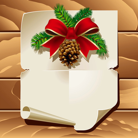 scroll up: Xmas ribbon and blank paper leaf on wooden background. Vector illustration