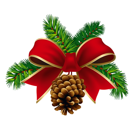 Christmas pine twigs with red ribbon and pine cone. Vector Illustration Vector