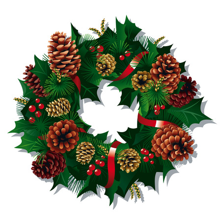 Christmas Wreath with red ribbon and pine cones. Vector Illustration Illustration
