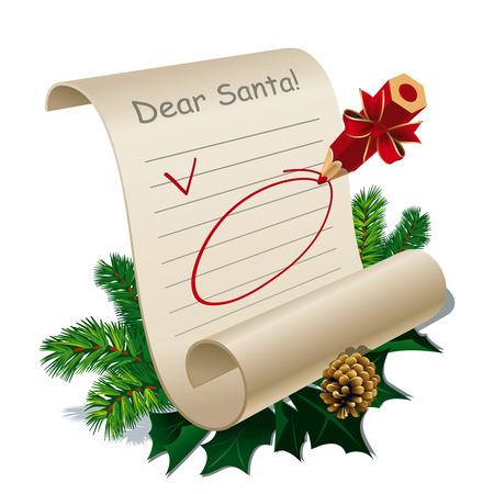 Brief aan de Kerst man met lege richtsnoeren. Illustratie
