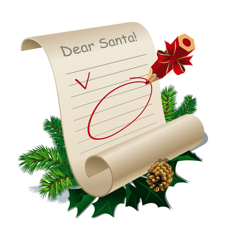 wish list: Letter to Santa Claus With Blank Guidelines.  Illustration