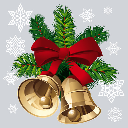 Christmas Bells with red ribbon and pine twigs.   Illustration