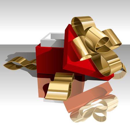Open Gift Box with Golden Bow on White Background. Vector Illustration (EPS v.8.0) Stock Vector - 8360789