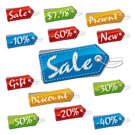 Discount, vente et le prix cousu des étiquettes. Illustration du vecteur (EPS, v.8.0) Banque d'images - 8360792