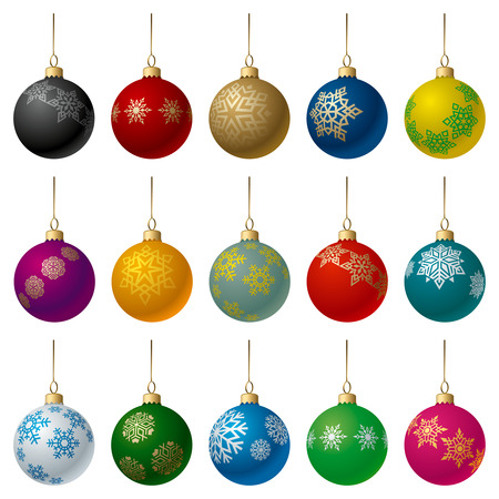 matt: Set of Matt Color Christmas Balls with Snowflakes Ornament.