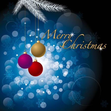 Christmas Background with Balls, Pine Branches and Snowflakes.  Vector