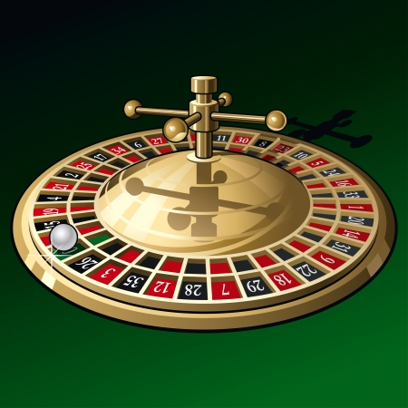 Roue de roulette sur fond vert foncé. Banque d'images - 8443067
