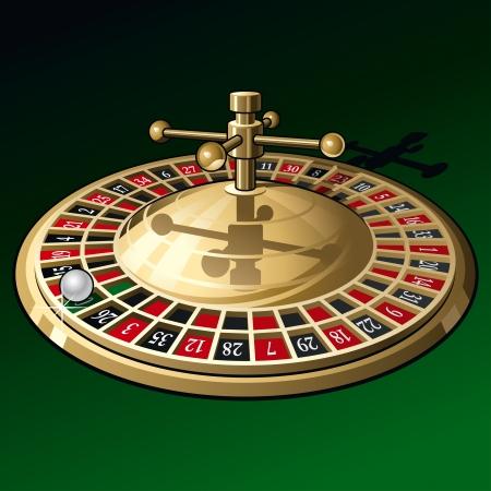 Roulette wheel on dark green background. Stock Vector - 8443067